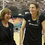 Silver Ferns coach Ruth Aitken, (left) during her final test on New Zealand soil with Irene van Dyk, after playing in her 200th test match during the New Zealand V England, New World International Netball Series, at the ILT Velodrome, Invercargill, New Zealand. 6th October 2011. Photo Tim Clayton...