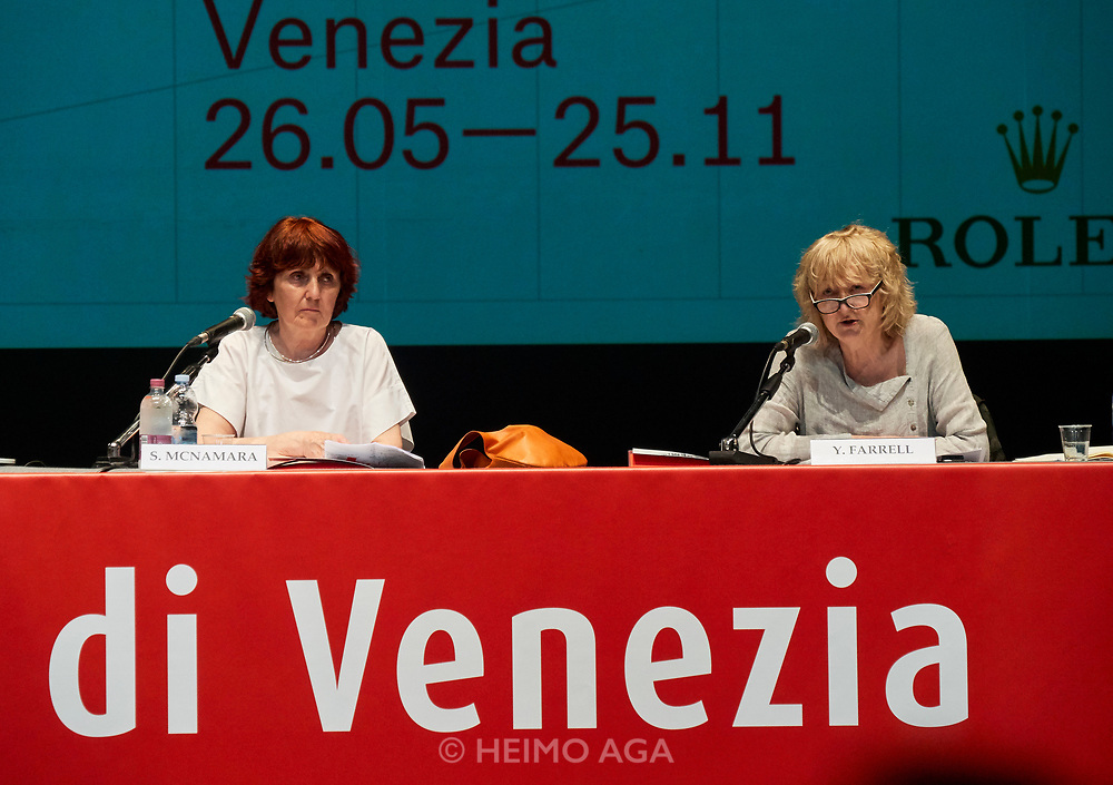 FREESPACE - 16th Venice Architecture Biennale. Opening press conference with Curators Yvonne Farrell and Shelley McNamara.