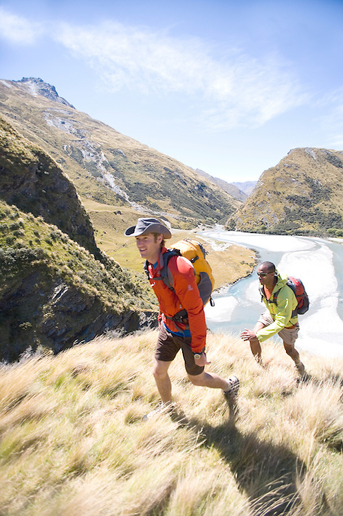 Two hikers in New Zealand in the back country.