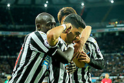 Ayoze Perez (#17) of Newcastle United celebrates Newcastle United's first goal (1-0) with Mohamed Diame (#10) of Newcastle United during the Premier League match between Newcastle United and Watford at St. James's Park, Newcastle, England on 3 November 2018.