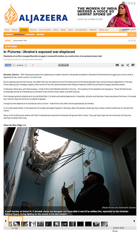 "Screengrab of ""In Pictures: Ukraine's exposed war-displaced"" published in Al Jazeera English"