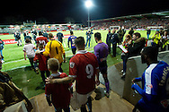 The FC United of Manchester and Chesterfield teams take to the field before during the FA Cup match at Broadhurst Park, Moston<br /> Picture by Russell Hart/Focus Images Ltd 07791 688 420<br /> 09/11/2015
