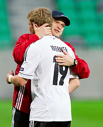 Timo Werner of Germany and Stefan Boeger, head coach of Germany celebrate after the UEFA European Under-17 Championship Group A match between Iceland and Germany on May 7, 2012 in SRC Stozice, Ljubljana, Slovenia. Germany defeated Iceland 1-0. (Photo by Vid Ponikvar / Sportida.com)