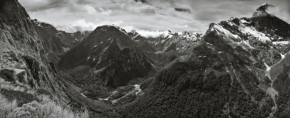 Twelve Second Drop and Mount Elliot frame the panoramic view from Mackinnon Pass of Mount Pillans, Staircase Creek and Arthur Valley, New Zealand