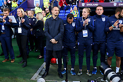 England head coach Mark Sampson - Mandatory by-line: Matt McNulty/JMP - 19/09/2017 - FOOTBALL - Prenton Park - Birkenhead, United Kingdom - England v Russia - FIFA Women's World Cup Qualifier