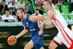 Milan Macvan of Serbia Damir Markota of Croatia at friendly match between Croatia and Serbia for Adecco Cup 2011 as part of exhibition games before European Championship Lithuania on August 9, 2011, in SRC Stozice, Ljubljana, Slovenia. (Photo by Matic Klansek Velej / Sportida)