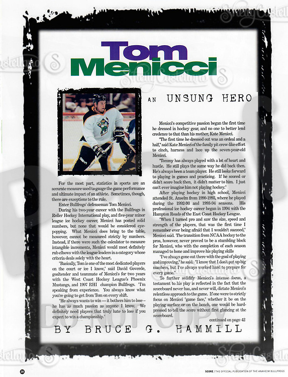 1999 RHI Anaheim Bullfrogs program.  Article by Bruce Hammill on player Tom Menicci the Unsung Hero