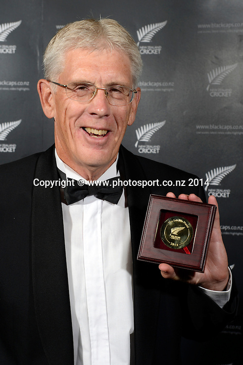 Alec Astle with the Bert Sutcliffe Medal poses for a picture at the 2013/14 New Zealand Cricket Annual Awards dinner at the Langham Hotel in Auckland, New Zealand. Photo: Andrew Cornaga/www.Photosport.co.nz