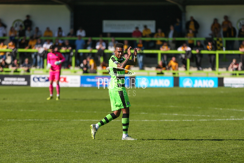 Forest Green Rovers Keanu Marsh-Brown(7) applauds the fans as he is substituted during the Vanarama National League match between Forest Green Rovers and Maidstone United at the New Lawn, Forest Green, United Kingdom on 22 April 2017. Photo by Shane Healey.