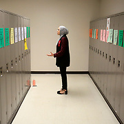 "Southview student Oumeima Djema practices her recitation of Suzanne Barakat's ""Islamophobia killed my brother. Let's end the hate."" speech about Barakat's 2015 loss of her brother and sister-in-law in Chapel Hill, N.C., for a declamation speech during practice at the Ohio Speech and Debate Association state tournament at Southview High School in Sylvania, Ohio, on Friday, March 2, 2018. Djema and the other participants in the tournament often practice the speeches and performances facing walls, lockers or empty rooms. THE BLADE/KURT STEISS"
