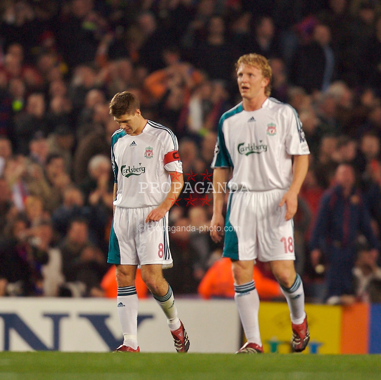Barcelona, Spain - Wednesday, February 21, 2007: Liverpool's Steven Gerrard and Dirk Kuyt look dejected as FC Barcelona's Anderson Deco scores the opening goal during the UEFA Champions League First Knockout Round 1st Leg match at the Nou Camp. (Pic by David Rawcliffe/Propaganda)