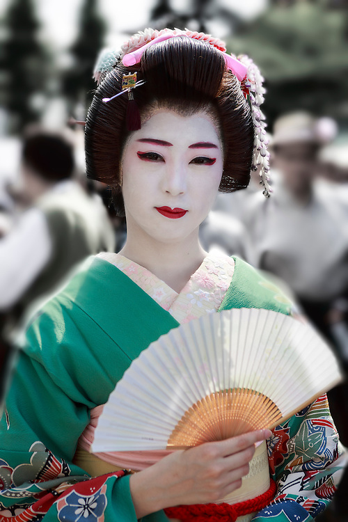 Portrait of a geisha during a traditional temple festival in Tokyo.