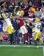 Green Bay Packers free safety Ha Ha Clinton-Dix (21) gets shoved while in the air by Arizona Cardinals wide receiver Michael Floyd (15) as Clinton-Dix jumps and intercepts a third quarter pass at the Packers 19 yard line during the NFL NFC Divisional round playoff football game against the Arizona Cardinals on Saturday, Jan. 16, 2016 in Glendale, Ariz. The Cardinals won the game in overtime 26-20. (©Paul Anthony Spinelli)