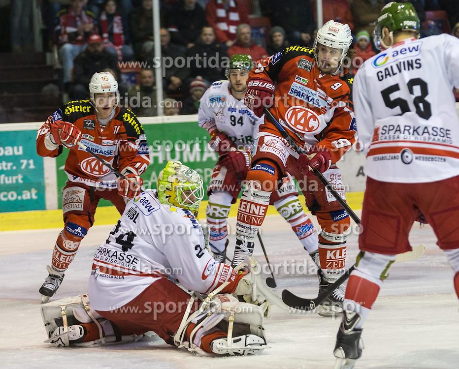 20.02.2015, Stadthalle, Klagenfurt, AUT, EBEL, EC KAC vs HCB Südtirol, Qualifikationsrunde, im Bild Daniel Pan (EC KAC, #11), Jaroslaw Hübl (HCB Südtirol, #24), Daniel Frank (HCB Südtirol, #94), Luke Pither (EC KAC, #9), Guntis Galvins (HCB Südtirol, #58) // during the Erste Bank Icehockey League qualification round match betweeen EC KAC and HCB Südtirol at the City Hall in Klagenfurt, Austria on 2015/02/20. EXPA Pictures © 2015, PhotoCredit: EXPA/ Gert Steinthaler