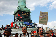 """Nous Voulons un vrai President: May Day March, Paris, 1 May 2009. Protest with sign that reads """"We want a true president"""""""