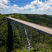 The Bacunayagua Bridge over the Yumuri Valley on the Via Blanca highway  in Matanzas. The bridge built before the Revolution, is the main road to Varadero.  <br />
