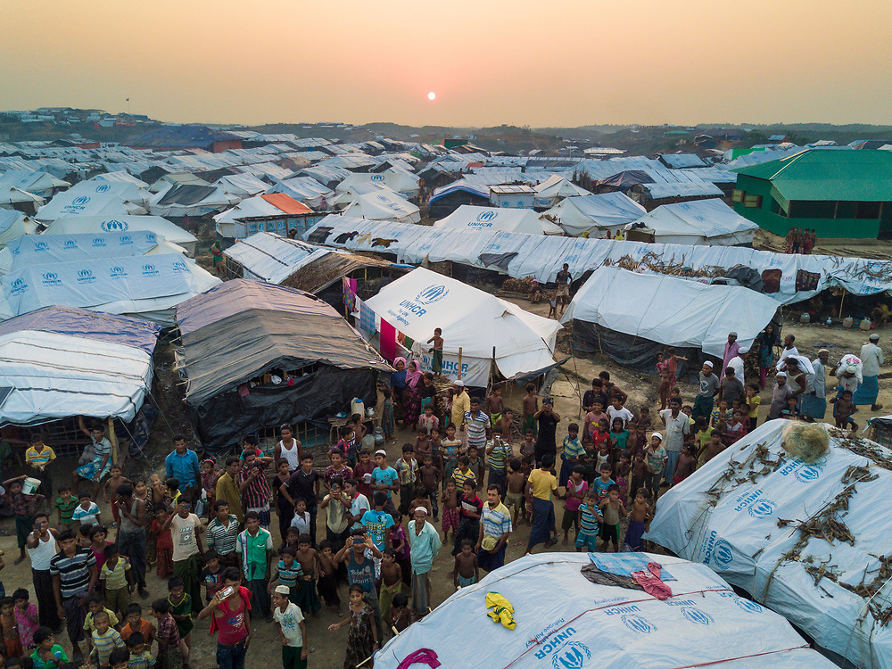Aerial from the far end of Kutupalong Extention refugee camp where UNHCR has helped relocate new arrivals, Bangladesh.