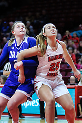 NORMAL, IL - January 06: Maddy Dean and Lexi Wallen during a college women's basketball game between the ISU Redbirds and the Drake Bulldogs on January 06 2019 at Redbird Arena in Normal, IL. (Photo by Alan Look)