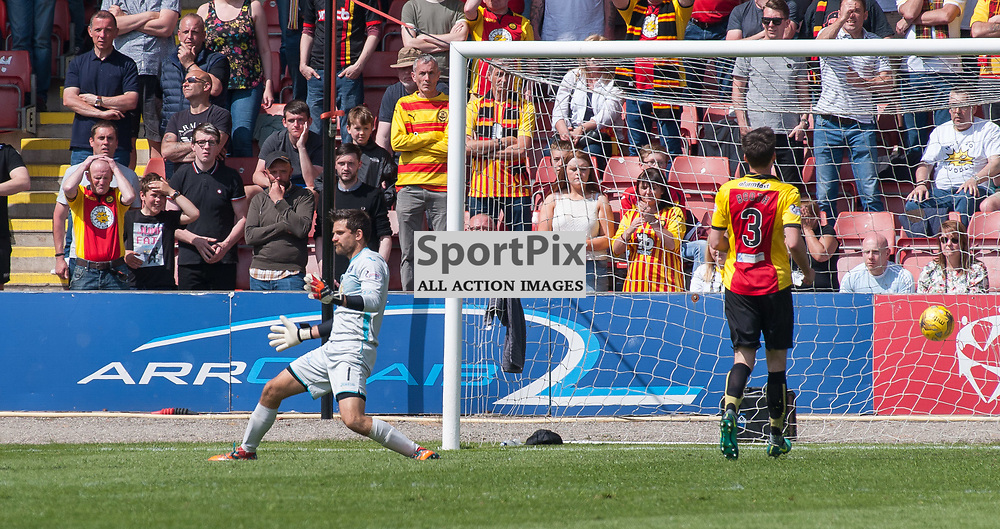 Despair for #1 Tomáš Černý (Partick Thistle) and the home fans as #10 Barrie McKay (Rangers) scores - Partick Thistle v Rangers - Ladbrokes Premiership - 07 May 2017 - © Russel Hutcheson | SportPix.org.uk