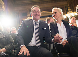 21.11.2016, Parlament, Wien, AUT, FPÖ, Feier anlässlich des 10 jährigen Jubiläums HC Strache´s als Klubobmann. im Bild Klubobmann FPÖ Heinz-Christian Strache mit seiner Frau Philippa Beck // Leader of the parliamentary group FPOe Heinz Christian Strache with his wife Philippa Beck during 10 years anniversary leader of the parliamentary group of the austrian freedom party in Vienna, Austria on 2016/11/21. EXPA Pictures © 2016, PhotoCredit: EXPA/ Michael Gruber