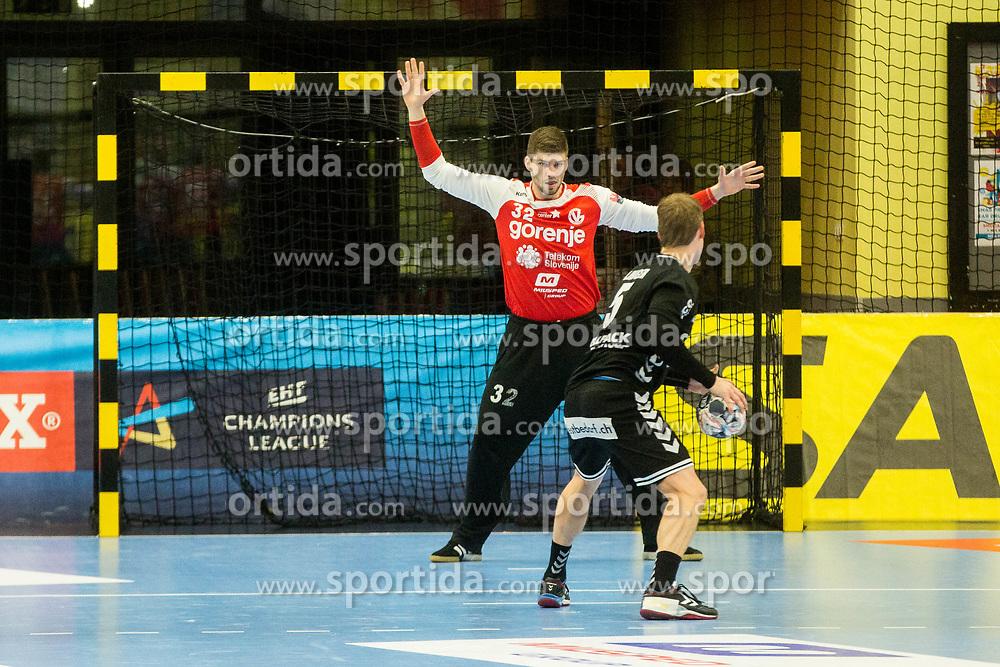 Rok Zaponsek of RK Gorenje Velenje during handball match between RK Gorenje Velenje and Kadetten Schaffhausen in VELUX EHF Champions League, on November 25, 2017 in Rdeca Dvorana, Velenje, Slovenia. Photo by Ziga Zupan / Sportida