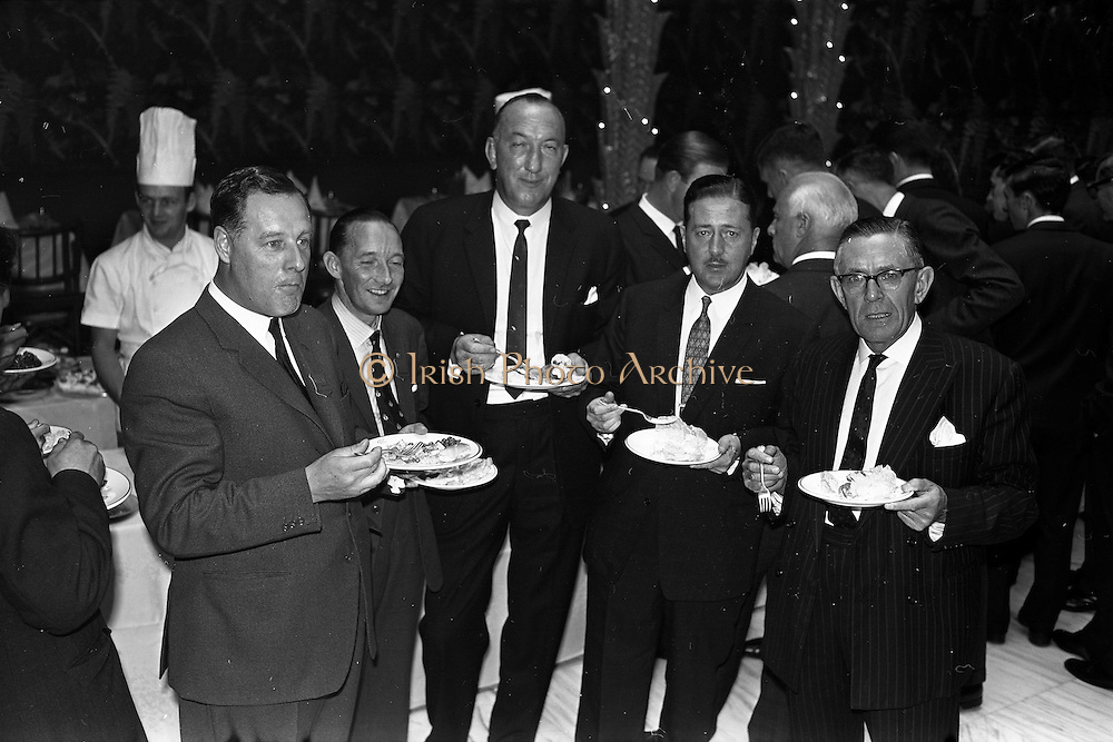 03/07/1963<br /> 07/03/1963<br /> 03 July 1963<br /> American executives of N.C.R. visit Dublin. Two top executives of the Dayton, Ohio, headquarters of the National Cash Register Company, one of the world's foremost manufacturers of cash registers, accounting machines and electronic computers, visiting Dublin. Picture shows  the lunch at the Gresham Hotel, Dublin. Included are: O.J. Byrne, (centre) Manager for Ireland, Cash Register Division N.C.R.; Mr D.H. Triggs, (4th Left) Assistant Manager Accounting Machine Division N.C.R. and Mr W.R. Hart, Director N.C.R. (Great Britain). On Left is P. Hare? (MSB/DGB).