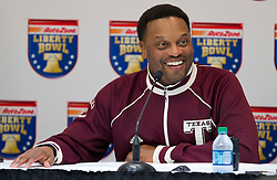 Texas A&M head coach Kevin Sumlin speaks with the media one day before the Liberty Bowl in Memphis, TN.