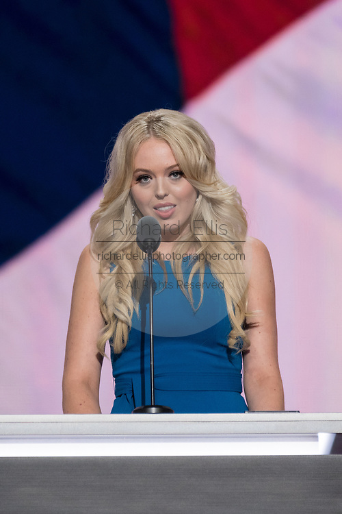 Tiffany Trump, daughter of Donald Trump and his second wife Marla Maples addresses the second day of the Republican National Convention July 19, 2016 in Cleveland, Ohio. Earlier in the day the delegates formally nominated Donald J. Trump for president.
