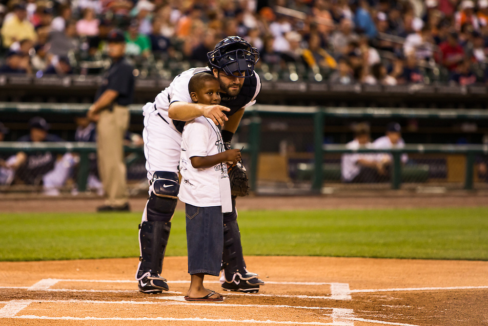 Alex Avila talks to a Cornerstone School's student at Cornerstone's annual Be A Tiger for Kids game.  Photographed by PR Photographer KMS Photography