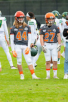 KELOWNA, BC - SEPTEMBER 22:  Gabe Loster #44 and Kenny Clarke #27 of Okanagan Sun stand on the field during warm up against the Valley Huskers at the Apple Bowl on September 22, 2019 in Kelowna, Canada. (Photo by Marissa Baecker/Shoot the Breeze)