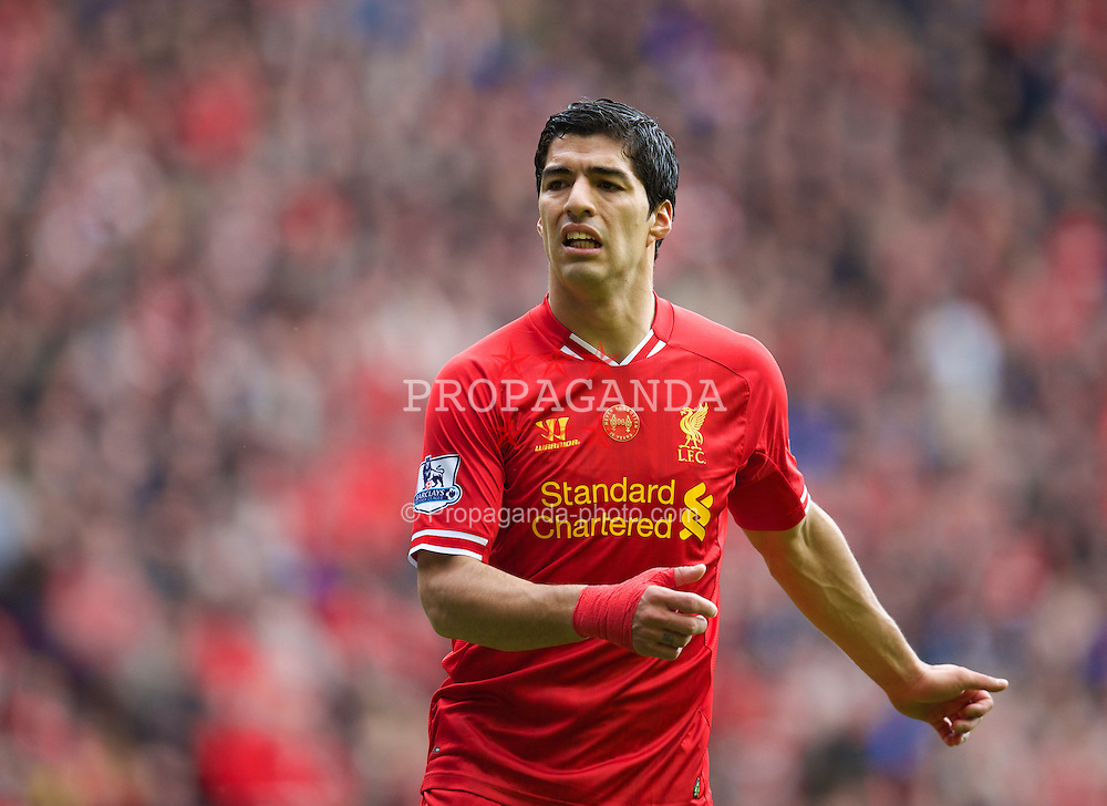 LIVERPOOL, ENGLAND - Sunday, May 11, 2014: Liverpool's Luis Suarez looks dejected after missing a chance against Newcastle United during the Premiership match at Anfield. (Pic by David Rawcliffe/Propaganda)