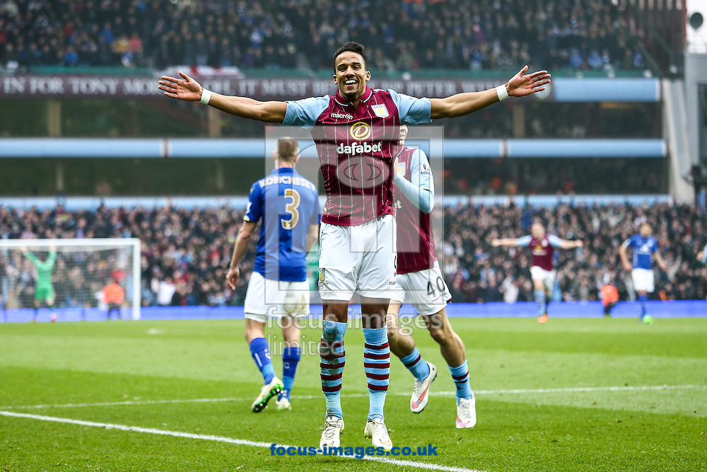 Leandro Bacuna of Aston Villa (centre) celebrates scoring their second goal during the FA Cup match at Villa Park, Birmingham<br /> Picture by Andy Kearns/Focus Images Ltd 0781 864 4264<br /> 15/02/2015