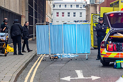 © Licensed to London News Pictures. 01/01/2020. Brighton, UK. Police and ambulance crews were called Brighton and Hove's Canon Street on New Year's Day due to a suspected suicide. Photo credit: Hugo Michiels/LNP