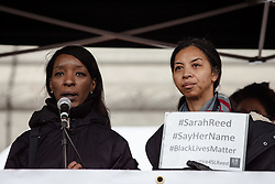 © Licensed to London News Pictures. 19/03/2016. London, UK.  Marylyn Reed, mother of Sarah Reed who died while detained in Holloway Prison in January 2016, speaks to demonstrators in Trafalgar Square. Thousands march through central London on UN anti-racism day to demand that the British government accept a greater share of refugees seeking asylum in Europe. Photo credit : Rob Pinney/LNP