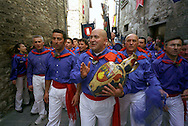 "Gubbio 15 MAY 2006..Festival of the Ceri..The ceraioli of St George  and the ""capodieci""....http://www.ceri.it/ceri_eng/index.htm.."