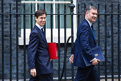 © Licensed to London News Pictures. 11/06/2019. London, UK. Secretary of State for International Development Rory Stewart (L), who is running to be Leader of the Conservative Party and the next Prime Minister, and Justice Secretary David Gauke (R), who supports Stewart in the leadership race, leave 10 Downing Street after the Cabinet meeting. Photo credit: Rob Pinney/LNP