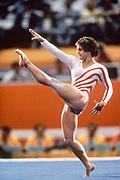 LOS ANGELES - AUGUST 1984:  Mary Lou Retton of the USA performs in the floor exercise event during the Women's Gymnastics competition of the 1984 Summer Olympic Games held from July 30 to August 3, 1984 at Pauley Pavilion in Los Angeles, California.  (Photo by David Madison/Getty Images)