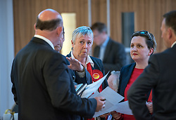 © Licensed to London News Pictures. 05/05/2017. Bristol, UK. LESLEY MANSELL (centre) comes second in the West of England Combined Authority Mayoral election 2017 from Tim Bowles for the Conservatives at the second round of counting. The candidates are: Tim Bowles -Conservative Party; Aaron Warren Foot - UK Independence Party (UKIP); Darren Edward Hall - Green Party; Lesley Ann Mansell - Labour and Co-operative Party; John Christopher Savage - Independent; Stephen Williams - Liberal Democrats. Photo credit : Simon Chapman/LNP