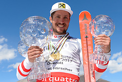 19.03.2017, Aspen, USA, FIS Weltcup Ski Alpin, Finale 2017, Gesamtweltcup, Herren, Siegerehrung, im Bild Marcel Hirscher (AUT, Slalom Riesenslalom und Gesamt Weltcup Sieger) mit den Kristrallkugeln für den Gesamtweltcupsieg den Slalom- sowie Riesenslalom Weltcup // Winner of Slalom Giant Slalom and Overall World Cup Marcel Hirscher of Austria with the crystal globes for the men's overall World Cup, Slalom World Cup and giantslalom World Cup during the winner award ceremony for the mens's Overall winner of 2017 FIS ski alpine world cup finals. Aspen, United Staates on 2017/03/19. EXPA Pictures © 2017, PhotoCredit: EXPA/ Erich Spiess
