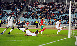 November 20, 2018 - Tunis, Tunisia - Mohamed Flirt (14) misses the equalizing goal for Tunisia at the end of the match during friendly Match between Tunisia and Morocco already qualified for the African Continental Tournament at the Olympic Stadium in Rades. (Credit Image: © Chokri Mahjoub/ZUMA Wire)