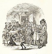 Mrs Squeers administering a compulsory dose of brimstone and treacle to the starving pupils of Dotheboys Hall. Illustration by 'Phiz' (Hablot Knight Browne) for Charles Dickens 'Nicholas Nickelby', London, 1838-1839. Based on research in Yorkshire, the publication of the book was instrumental in the government drawing up stricter regulations.
