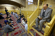 Vienna. Islamic Gymnasium Vienna(Islamisches Realgymnasium Wien). Friday noon prayer at the prayer room in the basement.