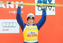 Third placed Stefan Kraft of Austria in Overall World Cup classification celebrates during final trophy ceremony after the Ski Flying Individual Competition at Day 4 of FIS World Cup Ski Jumping Final, on March 22, 2015 in Planica, Slovenia. Photo by Vid Ponikvar / Sportida