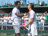 Tennis - 2017 Wimbledon Championships - Week One, Saturday [Day Six]<br /> <br /> Mens singles - Third round match<br /> Gael Monfils (FRA) v Adrian Mannarino (FRA) <br /> <br /> Adrian Mannarino (right) is congratulated by fellow Frenchman, Monfils at the net after the match on  Court 12<br /> <br /> COLORSPORT/ANDREW COWIE