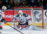 KELOWNA, CANADA - SEPTEMBER 3: Brodan Salmond #31 of Kelowna Rockets defends the net against the Victoria Royals on September 3, 2016 at Prospera Place in Kelowna, British Columbia, Canada.  (Photo by Marissa Baecker/Shoot the Breeze)  *** Local Caption *** Brodan Salmond;