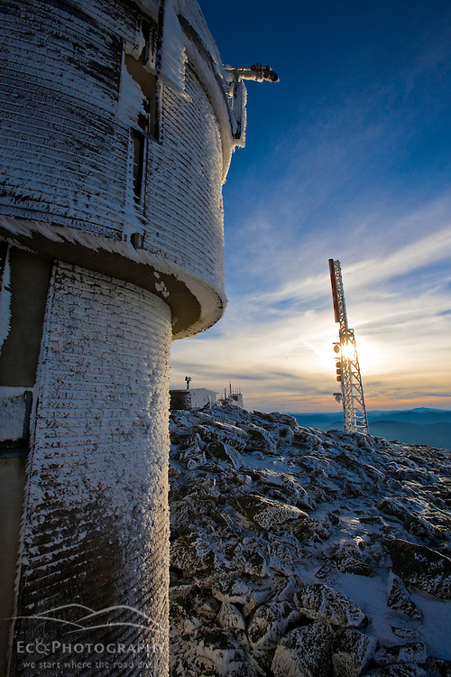 The Mount Washington's Observatory Mount Washington in January.  New Hampshire's White Mountains.
