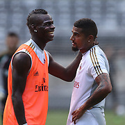 Mario Balotelli, (left), training with AC Milan in preparation for the Guinness International Champions Cup tie with Chelsea at MetLife Stadium, East Rutherford, New Jersey, USA.  3rd August 2013. Photo Tim Clayton