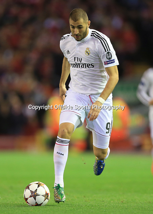 22nd October 2014 - UEFA Champions League - Group B - Liverpool v Real Madrid - Karim Benzema of Real - Photo: Simon Stacpoole / Offside.