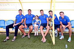 Mascot with Bristol Rovers players - Mandatory by-line: Robbie Stephenson/JMP - 18/07/2017 - FOOTBALL - Estadio da Nora - Albufeira,  - Hull City v Bristol Rovers - Pre-season friendly