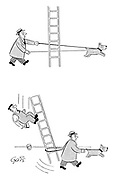 (A dog runs under a ladder which his master walks around causing the ladder to slip and the painter on it to fall to the ground)